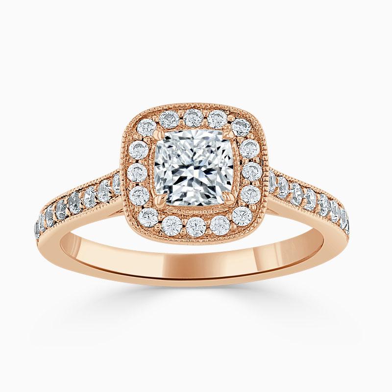 18ct Rose Gold Cushion Cut Vintage Pavé Halo Engagement Ring
