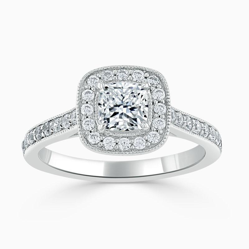 Platinum Cushion Cut Vintage Pavé Halo Engagement Ring