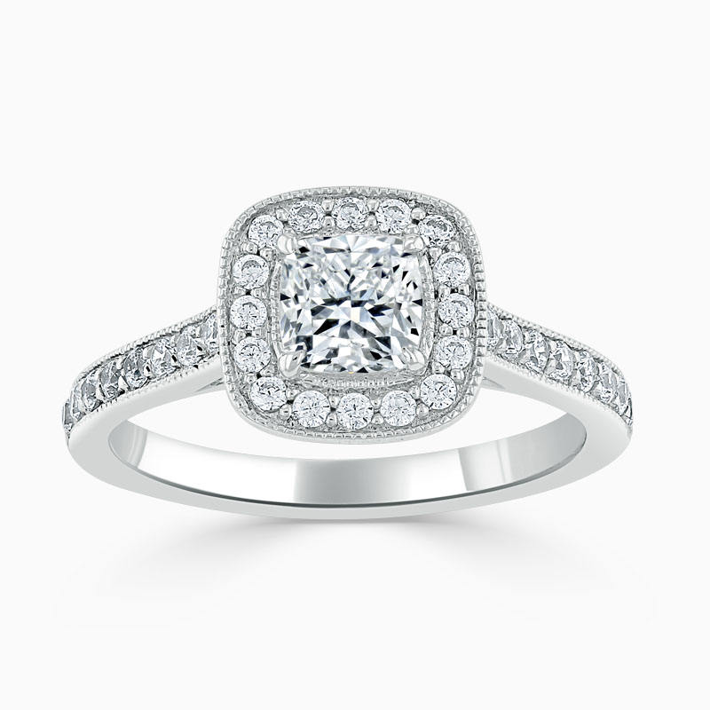 Platinum Cushion Cut Vintage Pavé Halo Engagement Ring