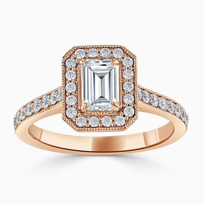 18ct Rose Gold Emerald Cut Vintage Pavé Halo Engagement Ring
