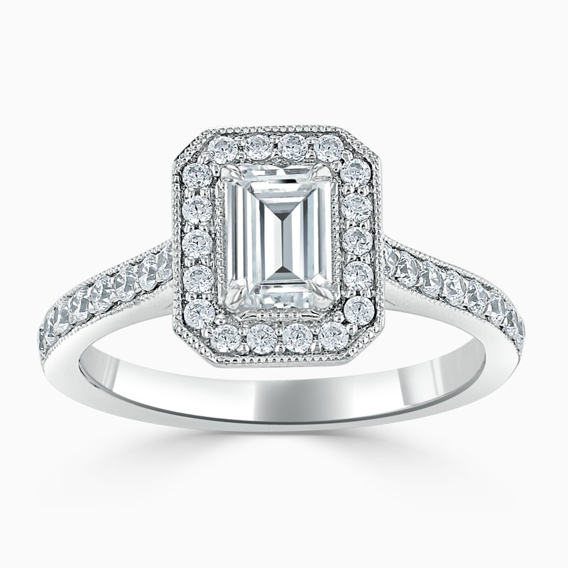 18ct White Gold Emerald Cut Vintage Pavé Halo Engagement Ring