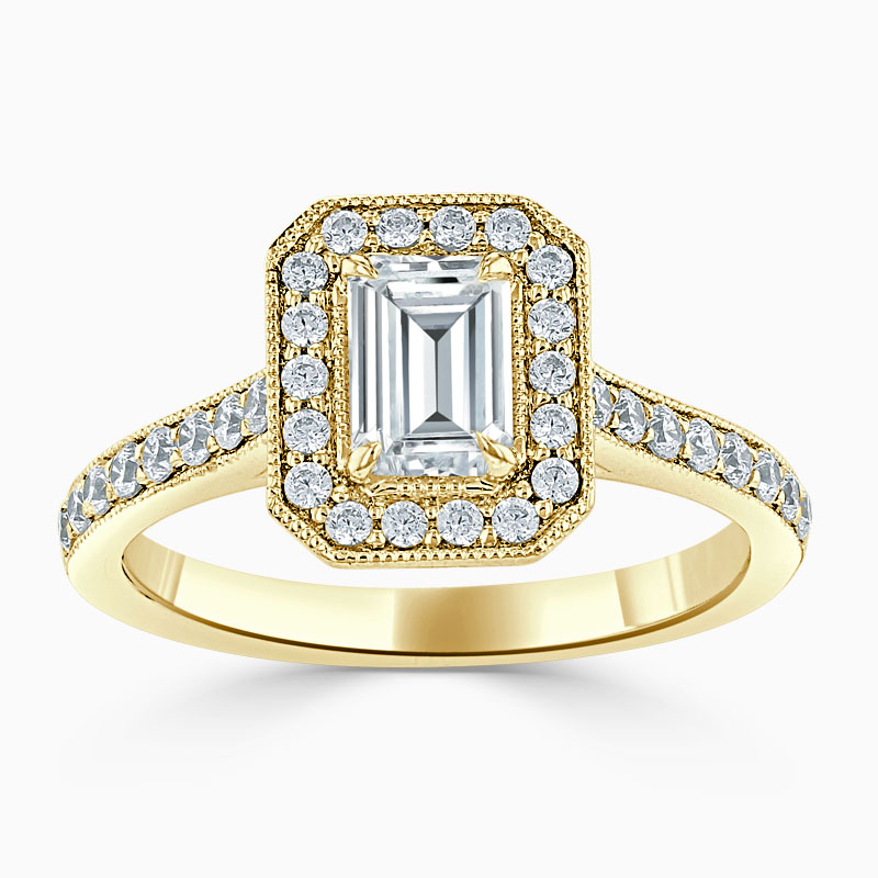 18ct Yellow Gold Emerald Cut Vintage Pavé Halo Engagement Ring