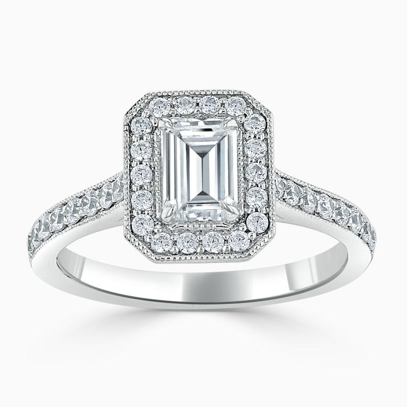 Platinum Emerald Cut Vintage Pavé Halo Engagement Ring