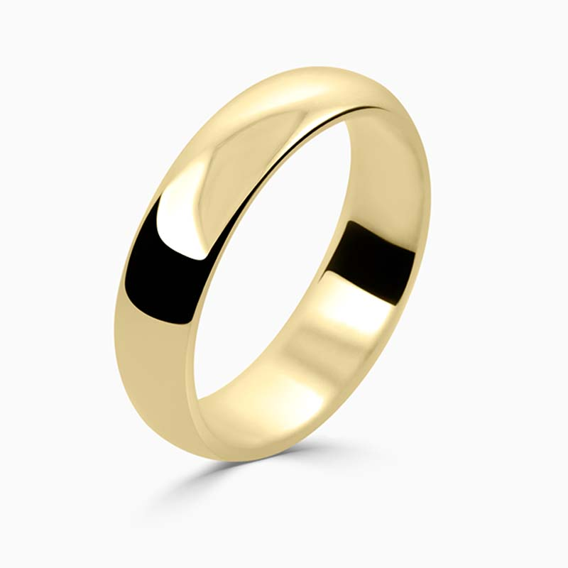 18ct Yellow Gold 5mm D Shape Medium Weight Wedding Ring