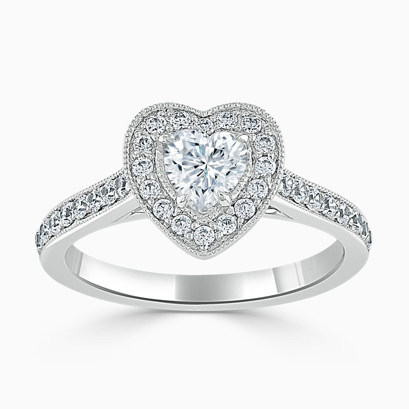 18ct White Gold Heart Shape Vintage Pavé Halo Engagement Ring