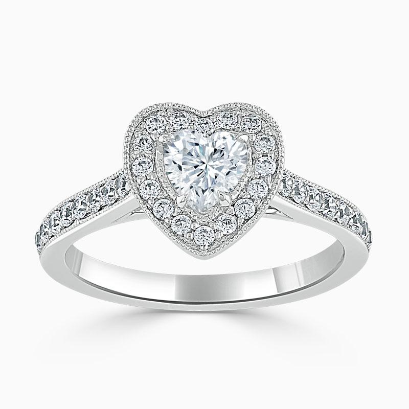 18ct White Gold Heart Shape Vintage Pavé Halo Engagement Ring