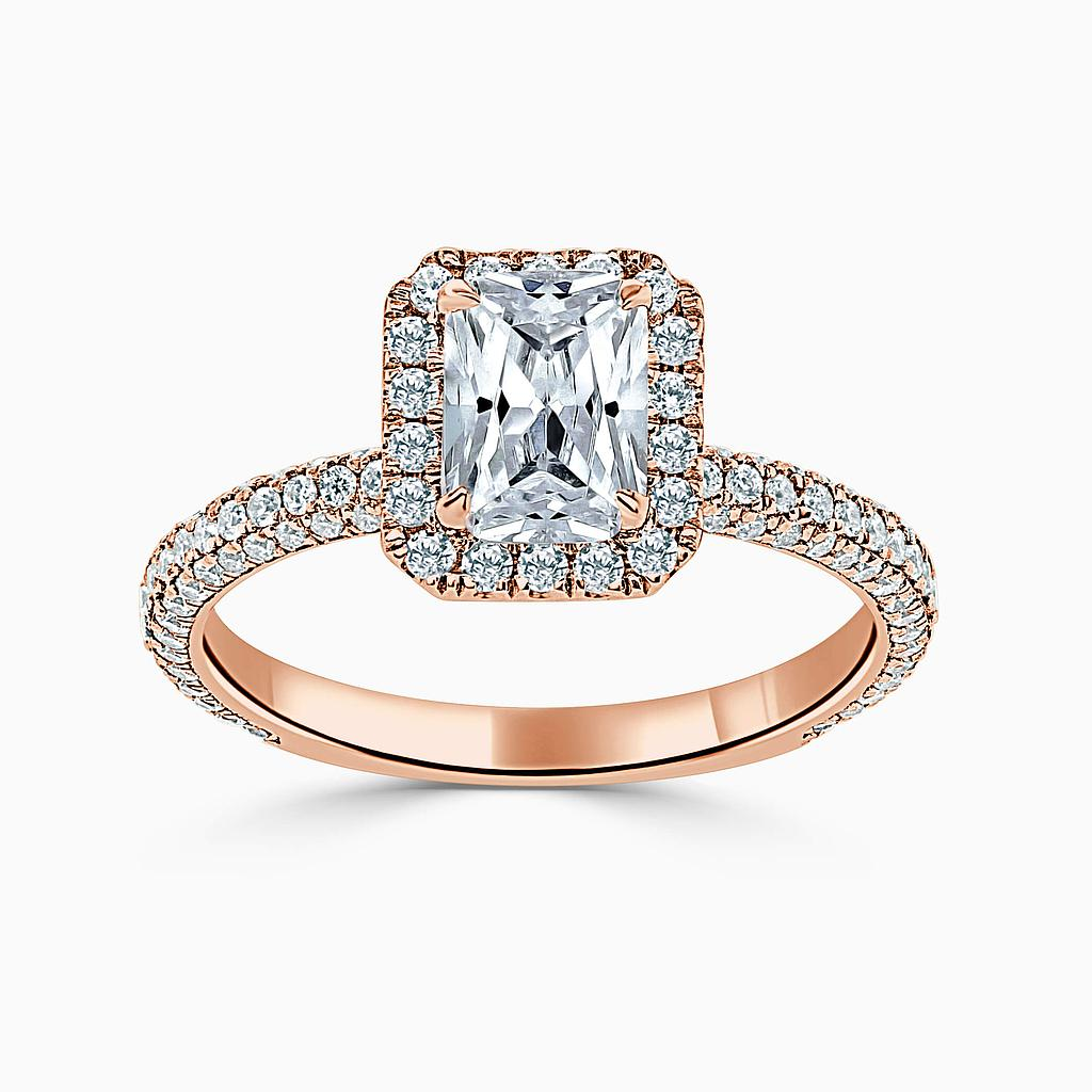 18ct Rose Gold Radiant Cut Halo With Micro Pave Engagement Ring