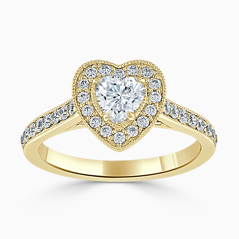 18ct Yellow Gold Heart Shape Vintage Pavé Halo Engagement Ring