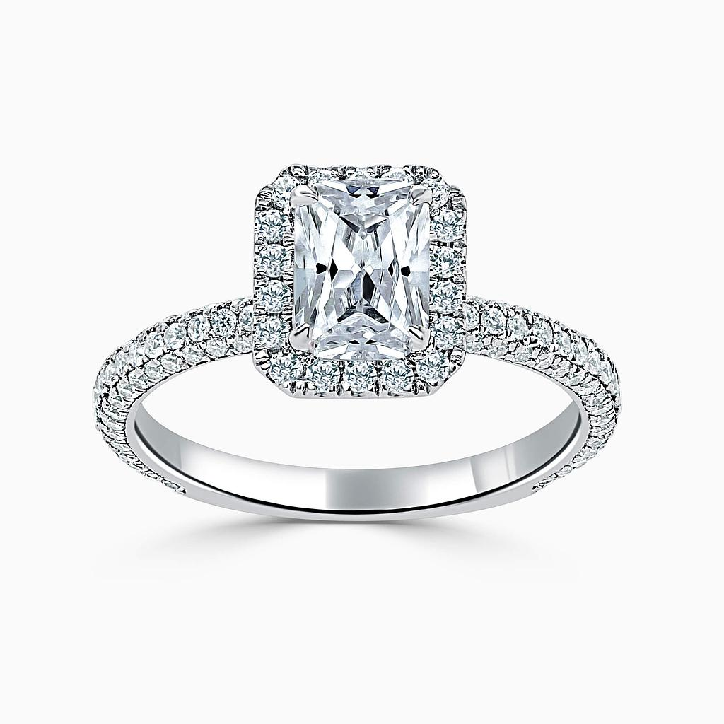 18ct White Gold Radiant Cut Halo With Micro Pave Engagement Ring