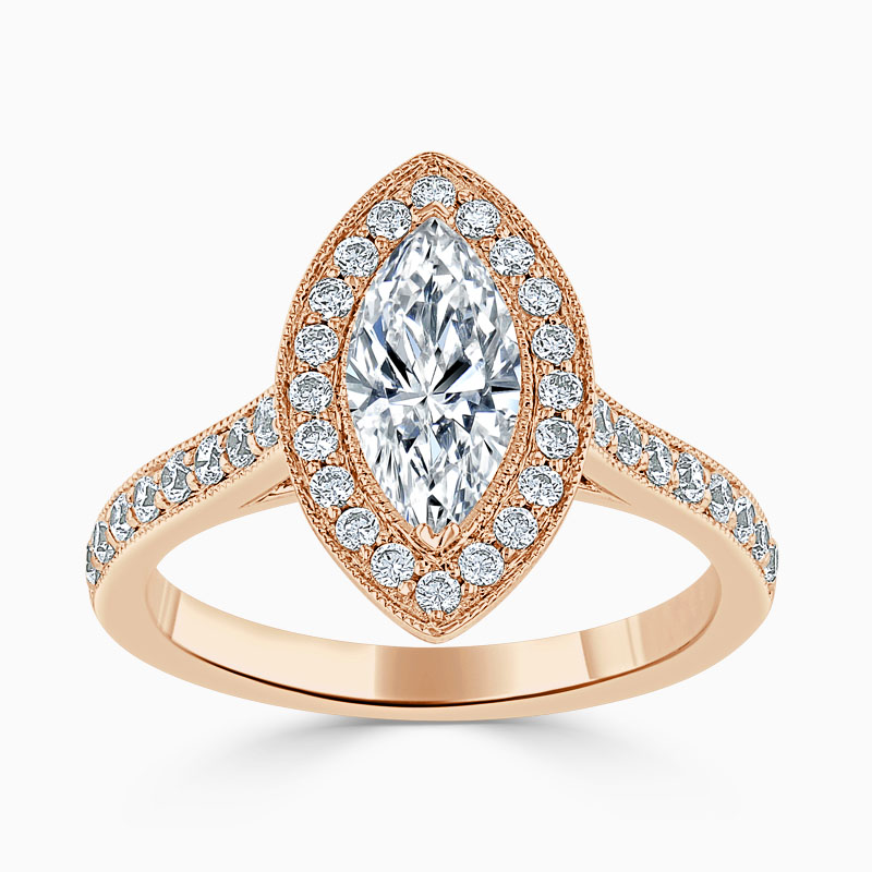 18ct Rose Gold Marquise Cut Vintage Pavé Halo Engagement Ring