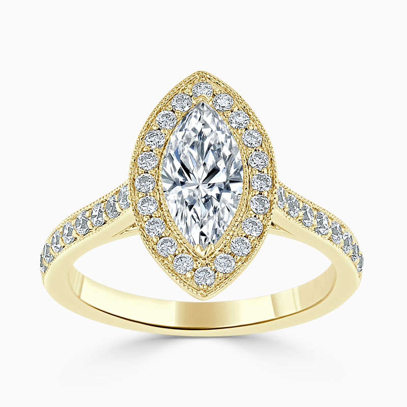 18ct Yellow Gold Marquise Cut Vintage Pavé Halo Engagement Ring