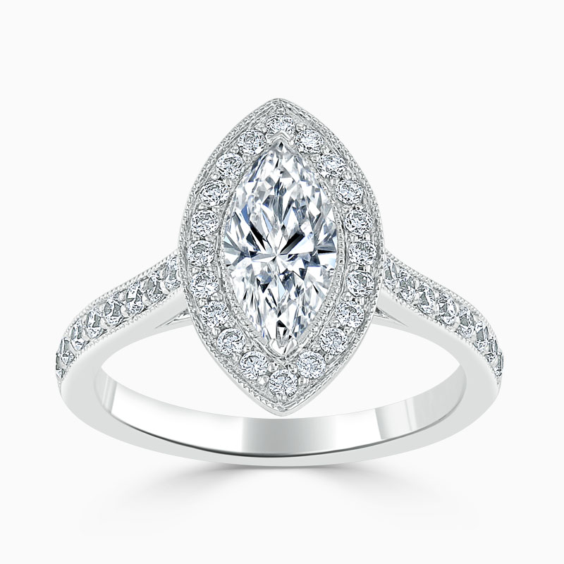 Platinum Marquise Cut Vintage Pavé Halo Engagement Ring
