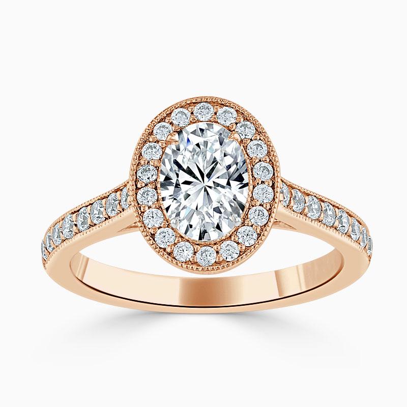 18ct Rose Gold Oval Shape Vintage Pavé Halo Engagement Ring