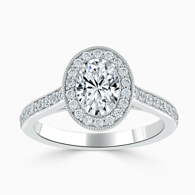 18ct White Gold Oval Shape Vintage Pavé Halo Engagement Ring