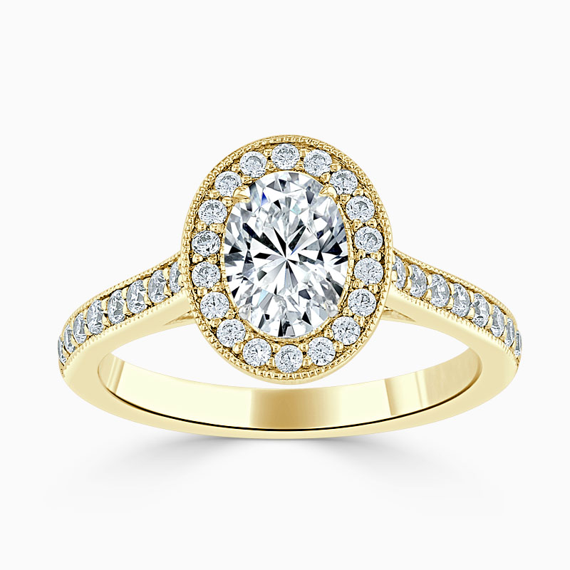 18ct Yellow Gold Oval Shape Vintage Pavé Halo Engagement Ring
