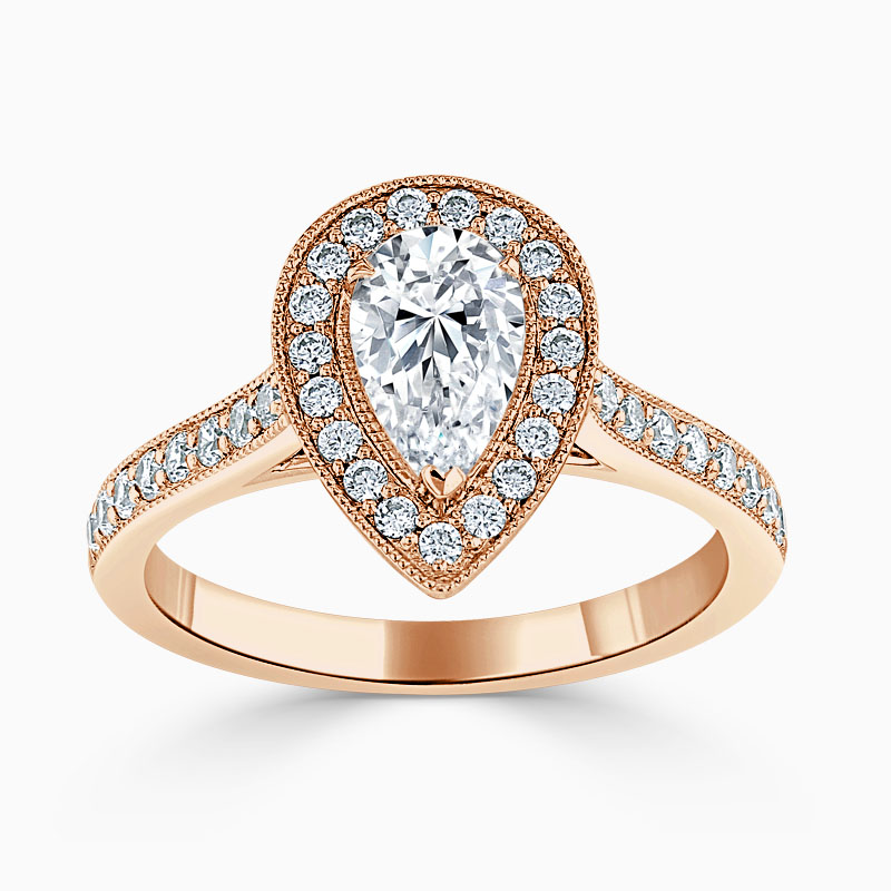 18ct Rose Gold Pear Shape Vintage Pavé Halo Engagement Ring