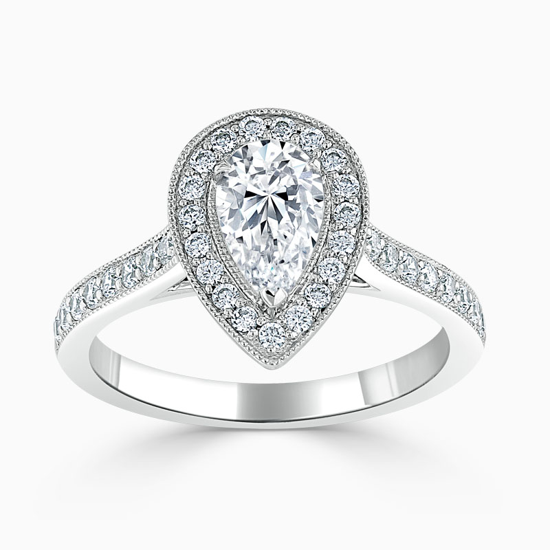 18ct White Gold Pear Shape Vintage Pavé Halo Engagement Ring