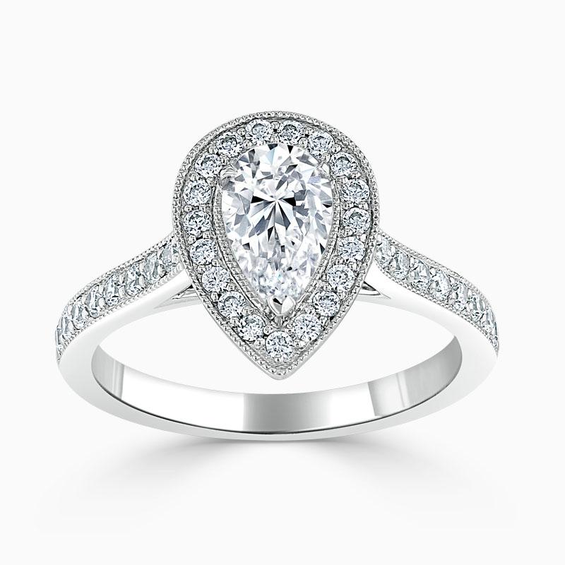 Platinum Pear Shape Vintage Pavé Halo Engagement Ring