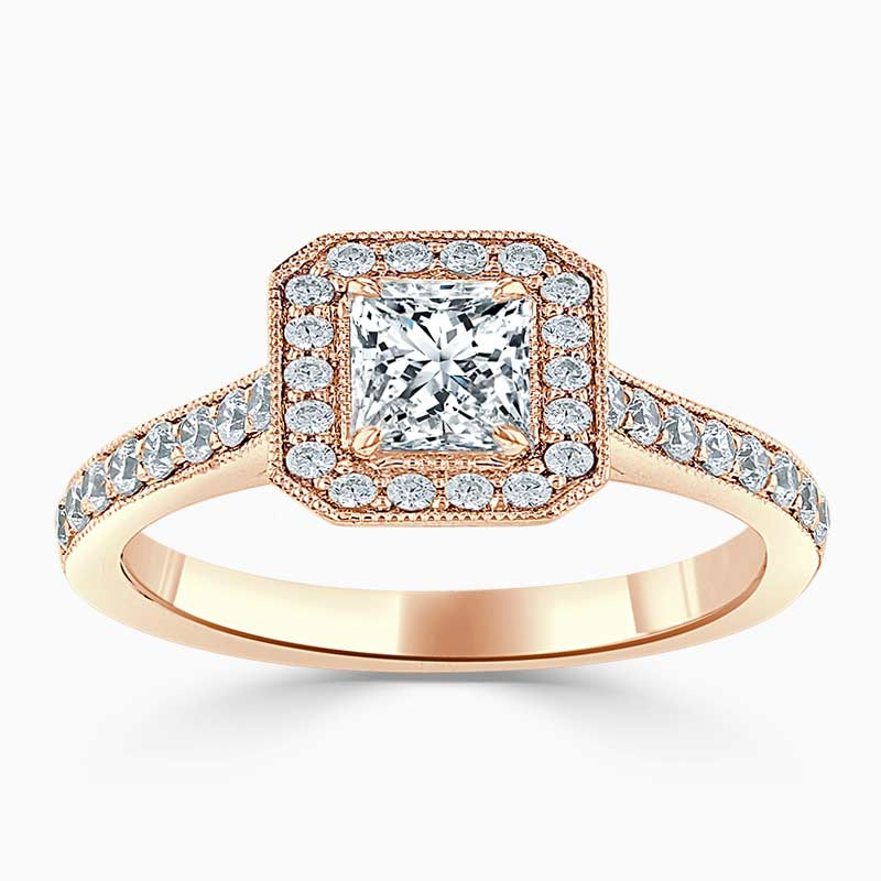 18ct Rose Gold Princess Cut Vintage Pavé Halo Engagement Ring