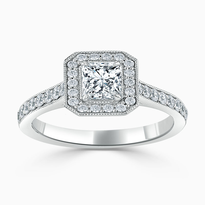 18ct White Gold Princess Cut Vintage Pavé Halo Engagement Ring