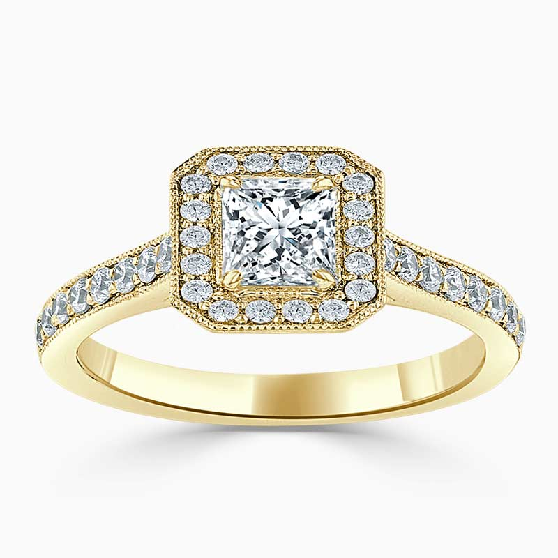 18ct Yellow Gold Princess Cut Vintage Pavé Halo Engagement Ring
