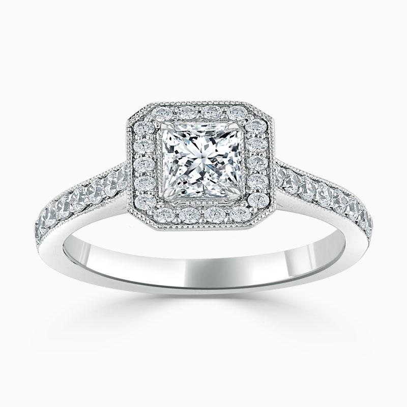 Platinum Princess Cut Vintage Pavé Halo Engagement Ring