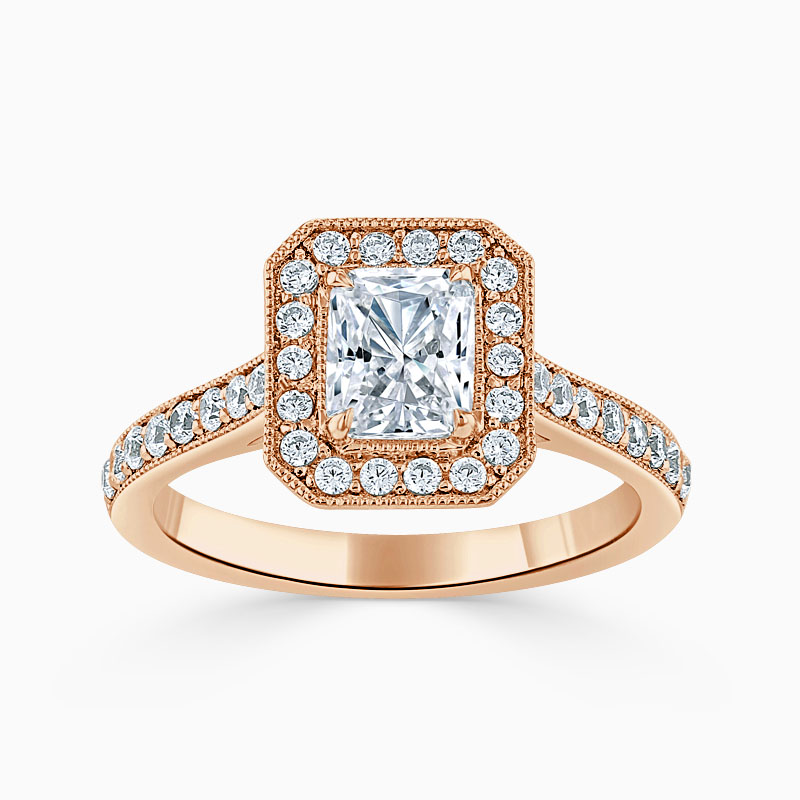 18ct Rose Gold Radiant Cut Vintage Pavé Halo Engagement Ring