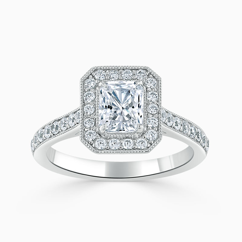 18ct White Gold Radiant Cut Vintage Pavé Halo Engagement Ring