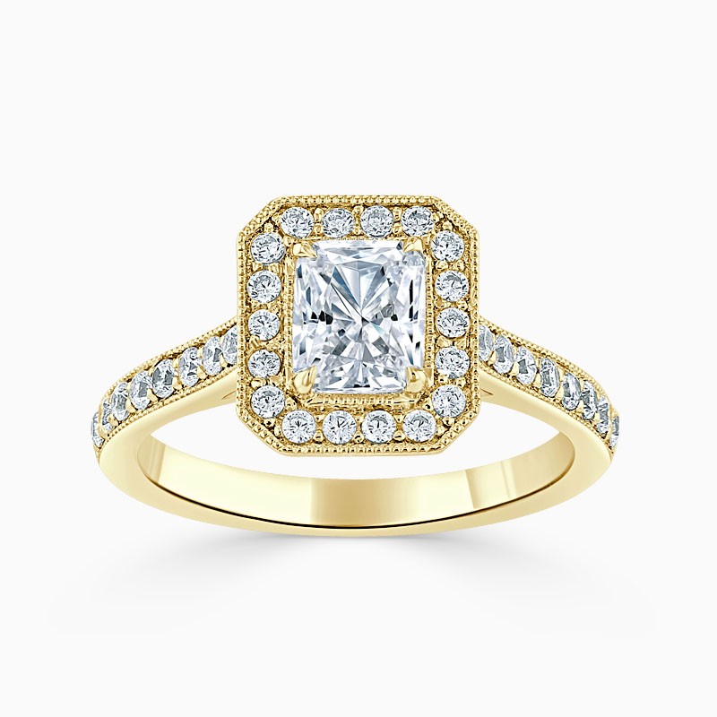 18ct Yellow Gold Radiant Cut Vintage Pavé Halo Engagement Ring