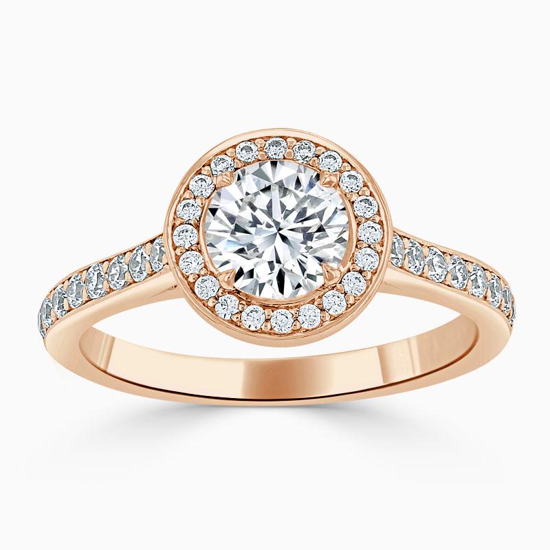 18ct Rose Gold Round Brilliant Vintage Pavé Halo Engagement Ring