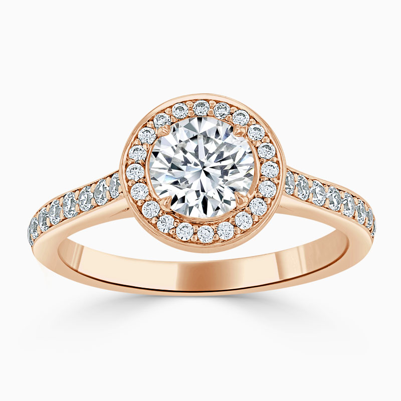 18ct Rose Gold Round Brilliant Vintage Pavé Halo Engagement Ring