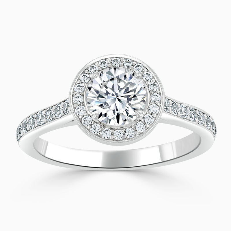 18ct White Gold Round Brilliant Vintage Pavé Halo Engagement Ring
