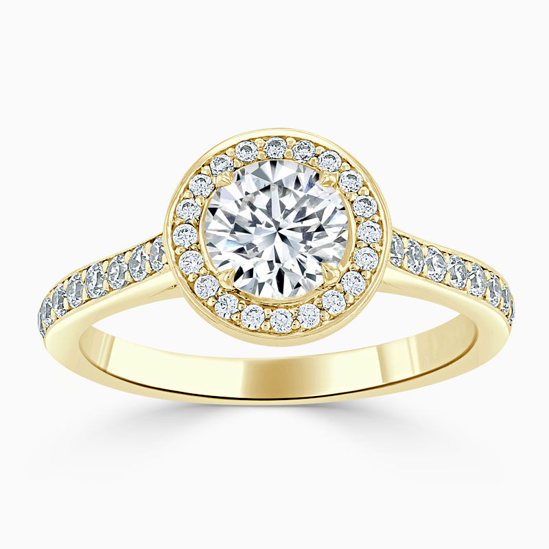18ct Yellow Gold Round Brilliant Vintage Pavé Halo Engagement Ring