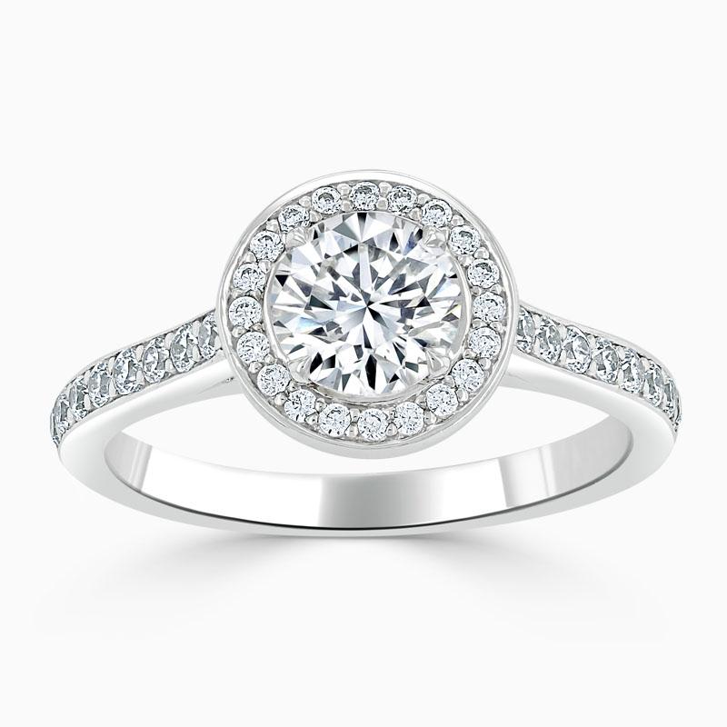 Platinum Round Brilliant Vintage Pavé Halo Engagement Ring