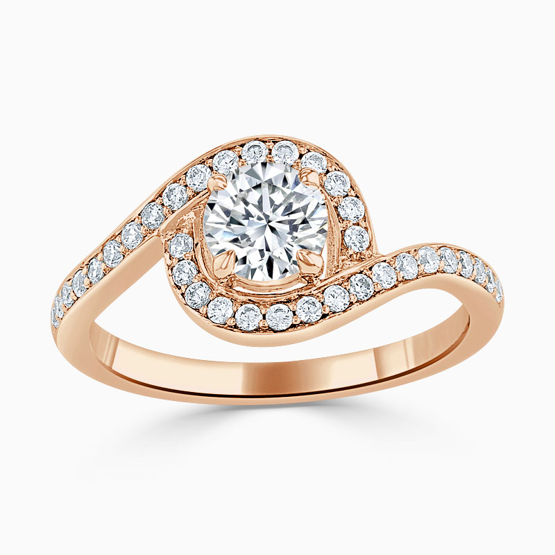 18ct Rose Gold Round Brilliant Crossover Halo Engagement Ring