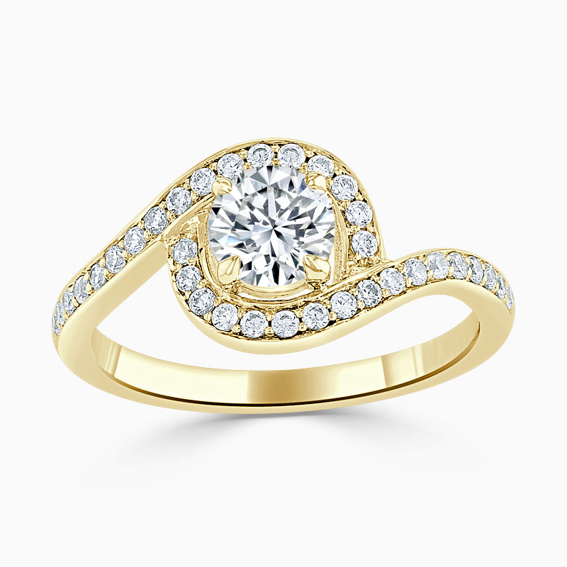 18ct Yellow Gold Round Brilliant Crossover Halo Engagement Ring