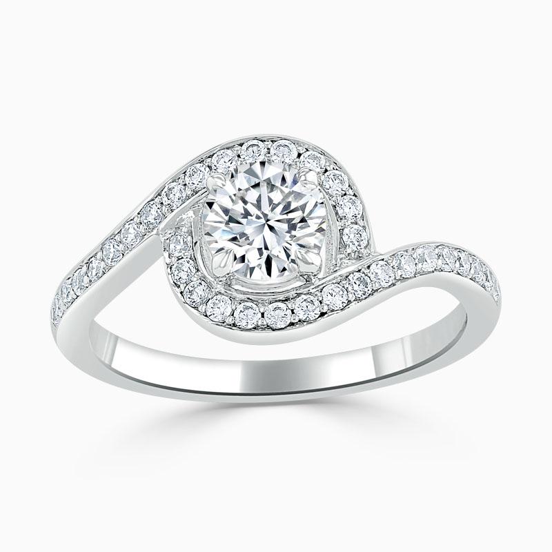 Platinum Round Brilliant Crossover Halo Engagement Ring