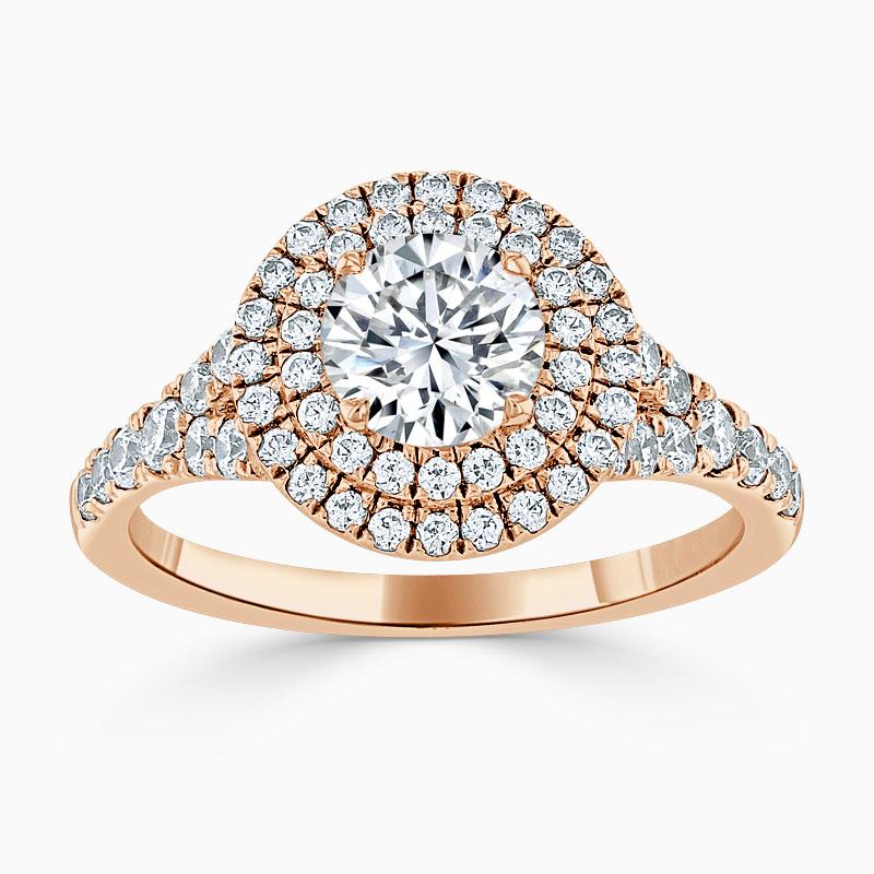 18ct Rose Gold Round Brilliant Double Halo Split Shoulder Engagement Ring