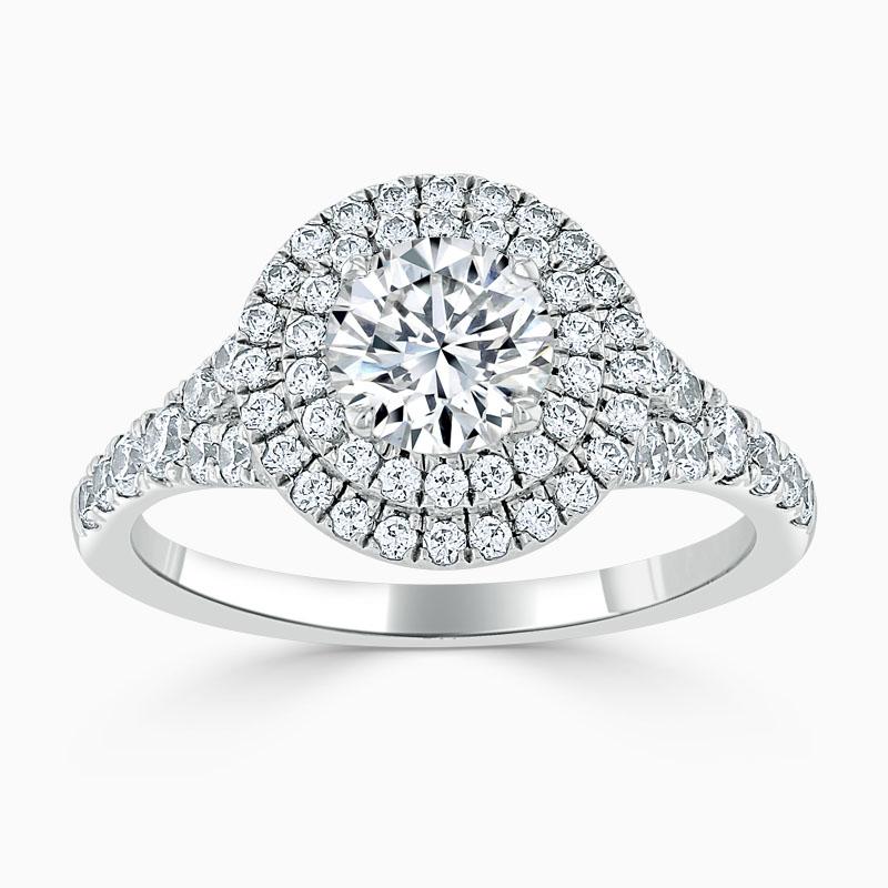 18ct White Gold Round Brilliant Double Halo Split Shoulder Engagement Ring