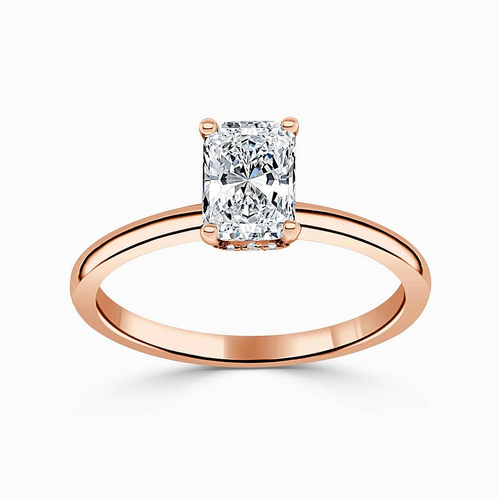 18ct Rose Gold Radiant Cut Hidden Halo Engagement Ring