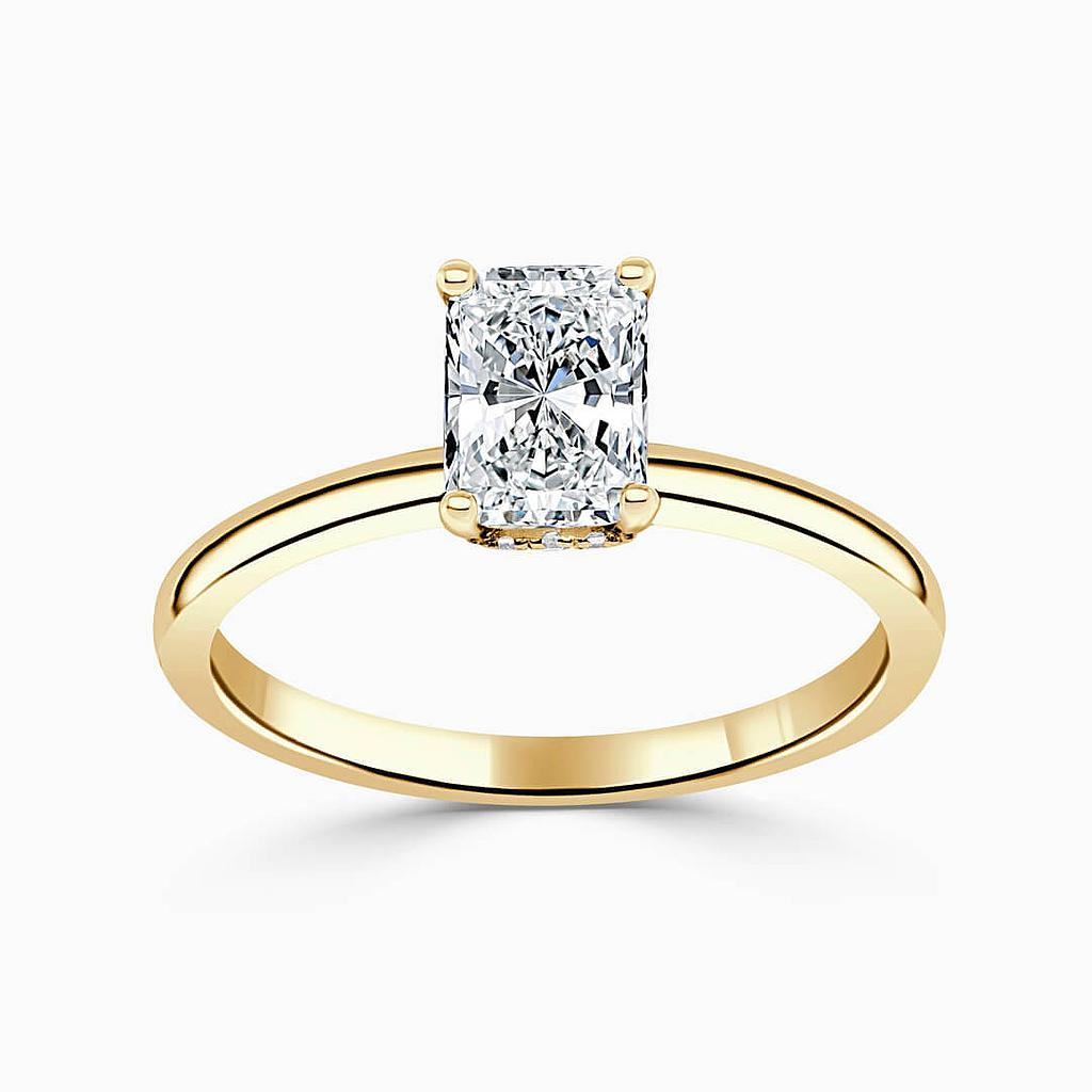 18ct Yellow Gold Radiant Cut Hidden Halo Engagement Ring