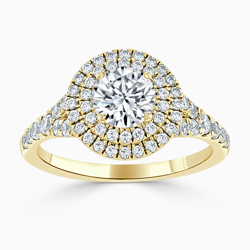 18ct Yellow Gold Round Brilliant Double Halo Split Shoulder Engagement Ring