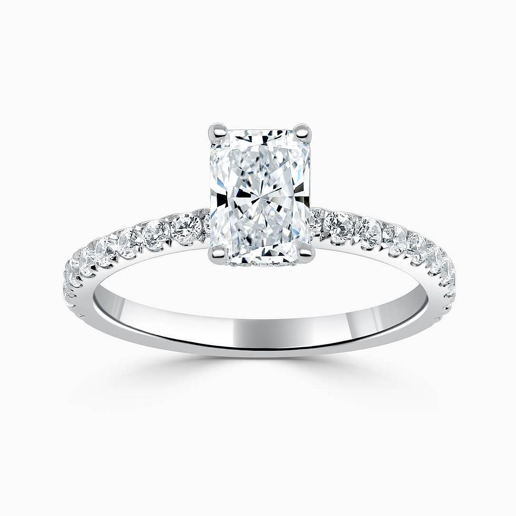 18ct White Gold Radiant Cut Hidden Halo With Cutdown Engagement Ring