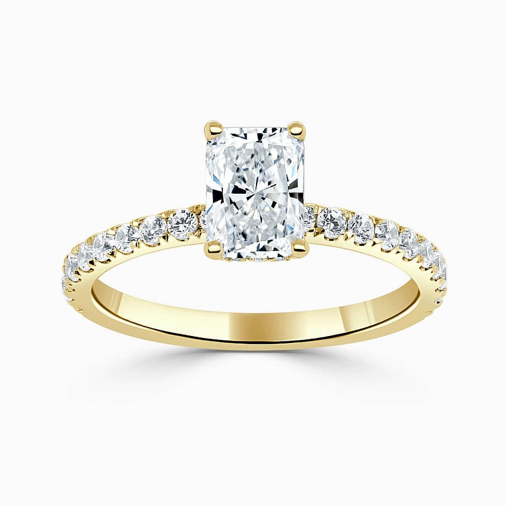 18ct Yellow Gold Radiant Cut Hidden Halo With Cutdown Engagement Ring