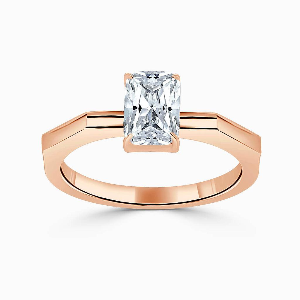 18ct Rose Gold Radiant Cut Geometric Engagement Ring