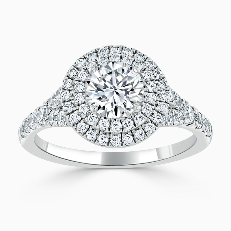 Platinum Round Brilliant Double Halo Split Shoulder Engagement Ring