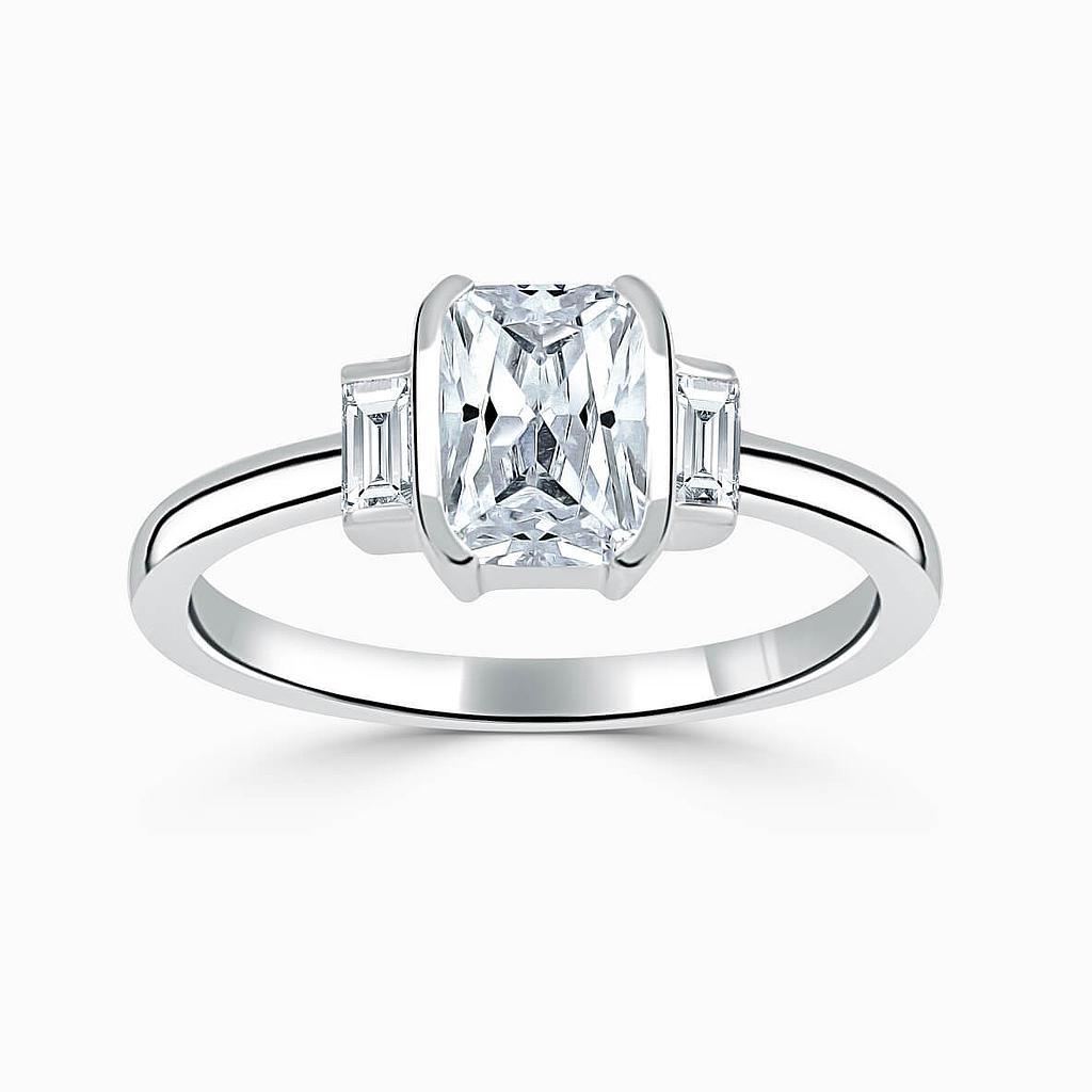 Platinum Radiant Cut Art Deco 3 Stone With Baguettes Engagement Ring