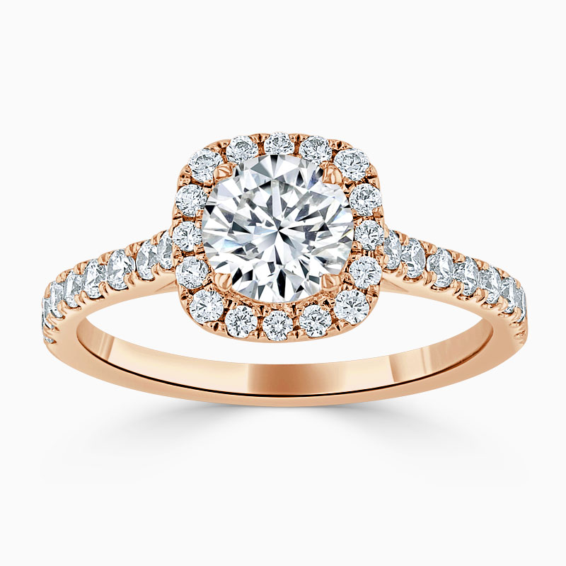 18ct Rose Gold Round Brilliant Halo Cushion Shaped Engagement Ring