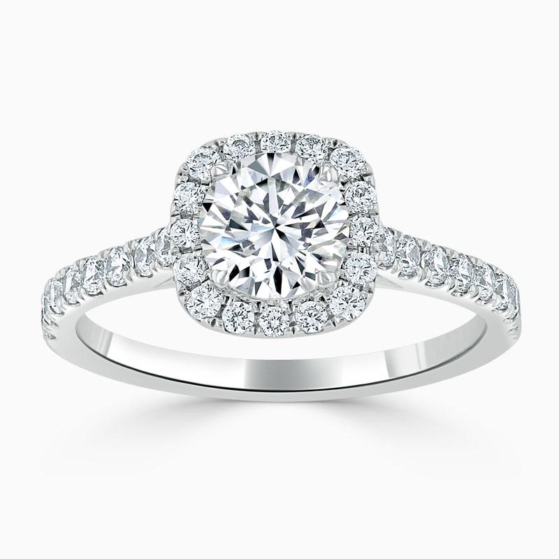 18ct White Gold Round Brilliant Halo Cushion Shaped Engagement Ring