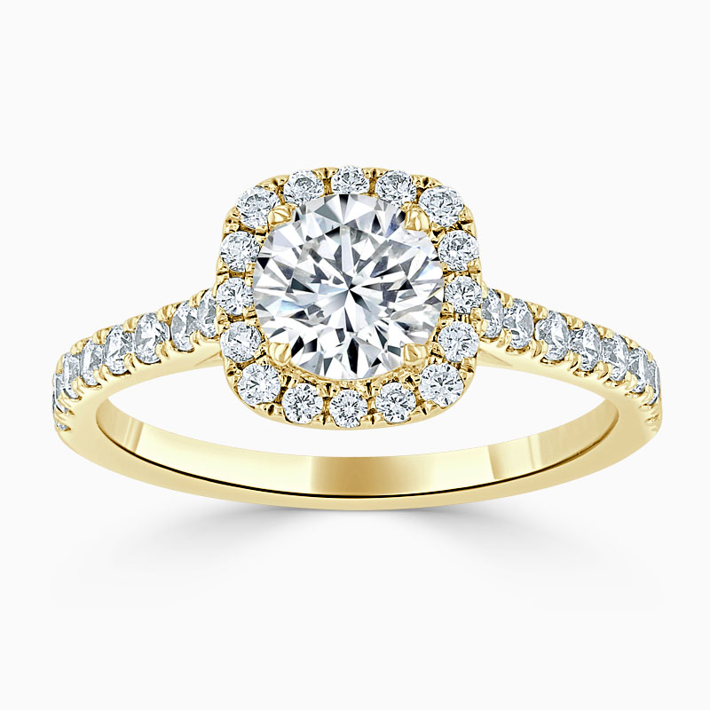 18ct Yellow Gold Round Brilliant Halo Cushion Shaped Engagement Ring